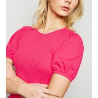 Bright Pink Shirred Peplum Hem T-Shirt New Look