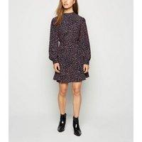 Petite Black Leopard Print High Neck Mini Dress New Look