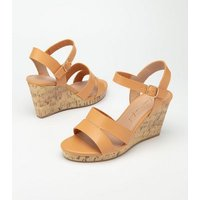 Wide Fit Camel Metal Trim Cork Wedges New Look