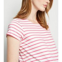 Maternity Pink Stripe Short Sleeve T-Shirt New Look