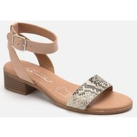 Pale Pink Leather Faux Snake Strap Sandals New Look
