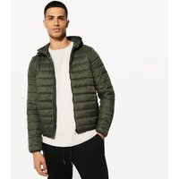 Khaki Hooded Puffer Jacket New Look