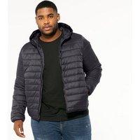 Men's Plus Size Grey Hooded Puffer Jacket New Look