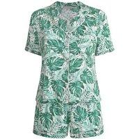 Curves Green Tropical Palm Short Pyjama Set New Look
