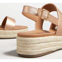 Rose Gold Espadrille Flatform Sandals New Look Vegan