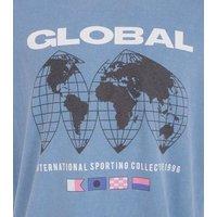 Blue Global Slogan Oversized T-Shirt New Look