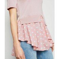 Pink Spot 2 In 1 Peplum Top New Look