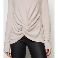 NA-KD Cream Twist Front Jumper New Look