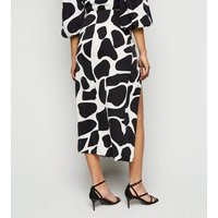 Urban Bliss Black Giraffe Print Split Midi Skirt New Look