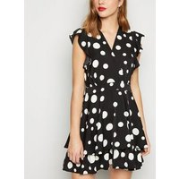 Black Polka Dot Frill Wrap Skater Dress New Look