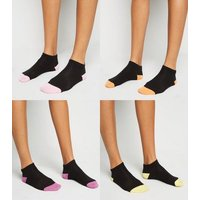 4 Pack Black Contrast Colour Panel Trainer Socks New Look