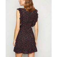 AX Paris Black Ditsy Floral Ruffle Mini Dress New Look