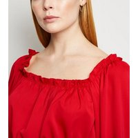 AX-Paris-Red-Shirred-Long-Sleeve-Top-New-Look