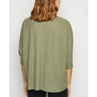 Olive Brushed Fine Knit Batwing Jumper New Look