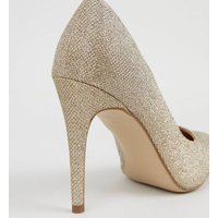 Gold Glitter Stiletto Court Shoes New Look
