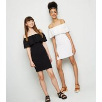 Girls White Shirred Broderie Dress New Look