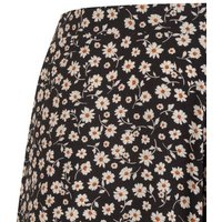 Curves Black Daisy Wide Leg Crop Trousers New Look