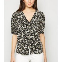 Black Floral Puff Sleeve Button Up Blouse New Look