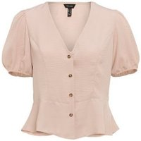 Pale Pink Puff Sleeve Peplum Blouse New Look