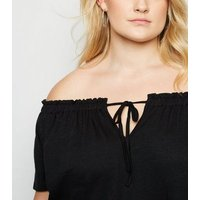 Curves Black Bardot Tie Front Top New Look