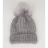 Grey Brushed Ribbed Faux Fur Bobble Hat New Look