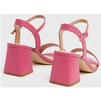 Bright Pink Flared Block Heel Sandals New Look Vegan