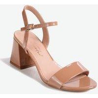 Camel Patent Flared Block Heel Sandals New Look