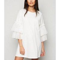 Blue Vanilla White Mesh Sleeve Sweatshirt Dress New Look