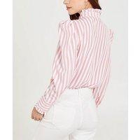 Blue Vanilla Pink Stripe Puff Sleeve Blouse New Look