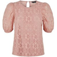 Petite Mid Pink Lace Puff Sleeve T-Shirt New Look