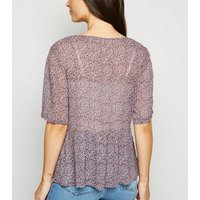 JDY Lilac Chiffon Ditsy Floral Blouse New Look