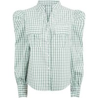 Blue Vanilla Green Check Puff Sleeve Shirt New Look
