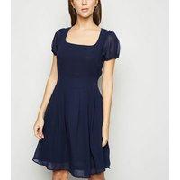 Blue Vanilla Navy Puff Sleeve Chiffon Dress New Look