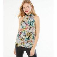 JDY White Floral Halterneck Top New Look