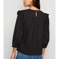 Black Broderie Long Sleeve Poplin Blouse New Look