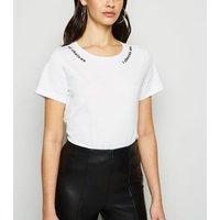 Noisy May White Slogan T-Shirt New Look