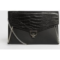 Black Leather-Look and Faux Croc Clutch Bag New Look Vegan