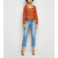Influence Orange Floral Peplum Blouse New Look
