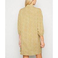 Mustard Floral Puff Sleeve Shirt Dress New Look
