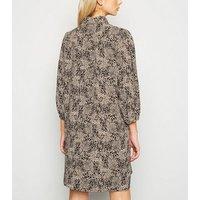 Brown Animal Print Puff Sleeve Shirt Dress New Look