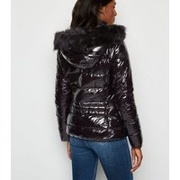 Cameo Rose Black Patent Faux Fur Puffer Jacket New Look