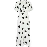 White Button Front Heart Midi Tea Dress New Look