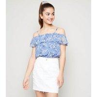 Girls Blue Floral Frill Trim Chiffon Top New Look