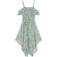 Girls Mint Green Floral Hanky Hem Midi Dress New Look