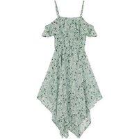 Girls Mint Green Floral Hanky Hem Midi Dress New Look