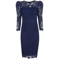 Navy Lace Puff Sleeve Bodycon Dress New Look