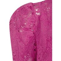 Bright Pink Lace Puff Sleeve Bodycon Dress New Look