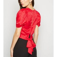Red Animal Print Jacquard Puff Sleeve Top New Look