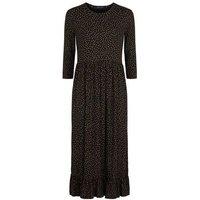 Black Floral Frill Hem Midi Dress New Look