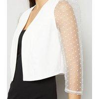White Spot Organza Sleeve Crop Blazer New Look